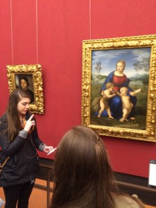 Day 3:  Lizzie Young gives a presentation on Raphael's 'Madonna Of the Goldfinch' at the Uffizi Gallery