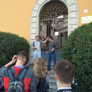 Andrew Laurence and Sean Sullivan giving their presentation on Bramante's 'Tempietto' in Trastevere