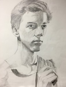 Self-portrait, graphite drawing on paper, Lincoln Atnip, grade 12