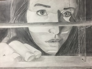Self-portrait, graphite drawing on paper, Georgianna Wells, grade 12