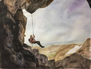 'Rappelling', watercolor on paper, Kate Johnston, grade 12